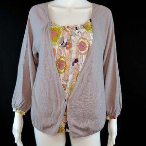Garnet Hill Floral Layered Cardigan Light Sweater